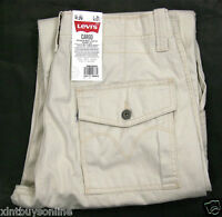 Levi's Cargo Pants Loose Fit Straight Leg 6420002 Ivory Cream 100% Cotton Levis