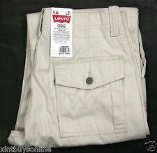 Levi's Cargo Pants Loose Fit Straight Leg 6420002 Ivory Cream 100% Cotton Levis