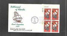 US FDC FIRST DAY COVERS # 1271 FLORIDA 1965  WITH PLATE BLOCK