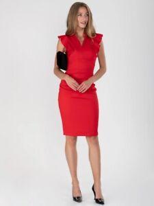Beautiful Jolie Moi Frill Shoulder Red Body Con Dress - Size 10 (12) - BNWT