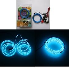5M Blue 2.3mm Diameter EL Wire Light Tron Neon Glow Rope with 12V Transformer...