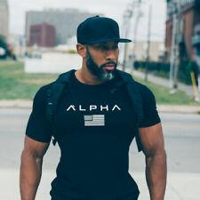 Men's Gym T-Shirt Alphalete Alpha Bodybuilding Fitness Training Top Muscle Tee