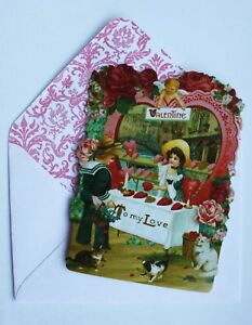 *PUNCH STUDIO Set of 6 Valentine Blank Note Cards ~ Cats ~ Kids ~ Roses