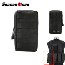Tactical 600D MOLLE Utility Tool Zipper Accessory Vest Pouch Backpack Bag Black