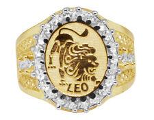 Men's Real 10K Yellow Gold Lab Diamond Leo Lion Lucky Zodiac Designer Pinky Ring