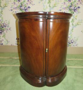 Henredon Drum Commode End Lamp Table Dark Burled Satin Wood