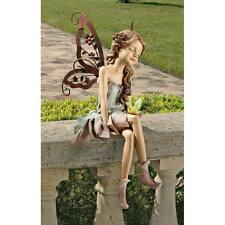 "Design Toscano Exclusive 12½"" Fannie The Fairy Sitting Statue With Metal Wings"