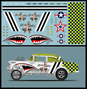 '55 Chevy Gasser P-51 Shark White Toner Waterslide Decals 1/64 'Hot Wheels #034