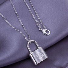 "Fashion Jewelry 925Sterling Silver Lock Pendant Men Women Necklace 18"" PY005"