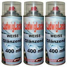 Weiß glänzend  3 Spraydosen  Farbton  WEISS Autolack 400ml von Ludwiglacke