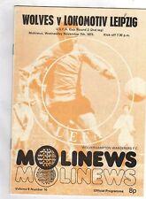 Orig.PRG    UEFA Cup   1973/74    WOLVERHAMPTON WANDERERS - 1.FC LOK LEIPZIG  !!