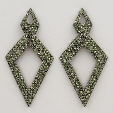 New Fashion Alloy Smokey Black Crystal Rhinestone Drop Dangle Earrings 03144
