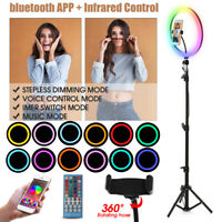 13'' bluetooth 1.4m RGB Colorful LED Selfie Ring Light Makeup Lamp For Live Show
