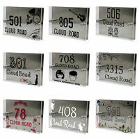 Custom House Sign Number Street Gate Address Plaque Glass Acrylic Name Rectangle