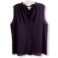 Ann Taylor LOFT Black Semi-Sheer V-Neck Sleeveless Blouse Womens Size Large
