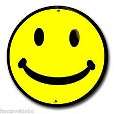 """Yellow Happy Smiley Face 12"""" Embossed Metal Circle Sign - CS60013"""
