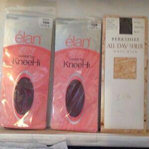 Women's Sheer Comfort Top Knee Hi Stockings 81/2 - 11 Tan & Grey 3 Hosiery Socks