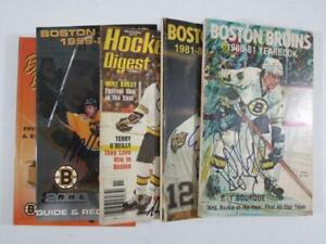 (5) Boston Bruins Hockey Signed Yearbooks and Magazines - Ray Bourque