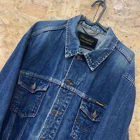 WRANGLER Mens Blue Stone Wash Denim Trucker Authentic Western Jacket Large L