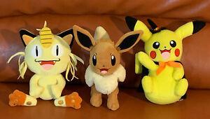 "Lot of 3 Pokémon Wicked Cool Toys TOMY 8"" Plush - Meowth, Eevee, Pikachu"