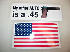 MY OTHER AUTO IS A 45 Car Window Decal Bumper Sticker + FREE USA Flag PISTOL