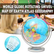 25cm 360° Rotating World Globe Map With Swivel Base Geography Educational