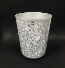 NEW REFLECTIVE SILVER.GRAY GREY MIRROR GLASS MOSAIC,RESIN WASTE BASKET,TRASH CAN