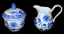 Hutschenreuther China Blue Onion Scalloped Pattern Cream and Sugar Bowls