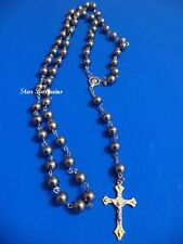 """Religious METAL Rosary BEADS 20"""" Necklace Cross Crystal Dark Grey Silver Balls N"""