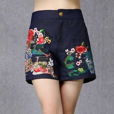 Chinese Style Women Casual Loose High Waist Embroidery Shorts A-Line Short Pants
