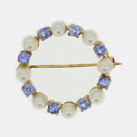 Sapphire Gold Brooch - Vintage Sapphire and Pearl Circle Brooch 9ct Yellow Gold