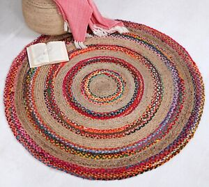 FIESTA Braided Round Rug Flat Weave with Natural Jute and Multi Colour Recycled