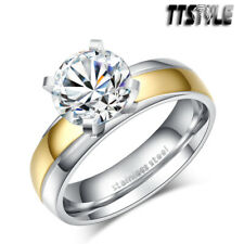 TTstyle 5mm width 2 Ct Gold S.Steel Engagement Wedding Band Ring Size 5-10