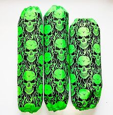Shock Covers Arctic Cat DVX 400  Neon Green Skulls ATV Set of 3