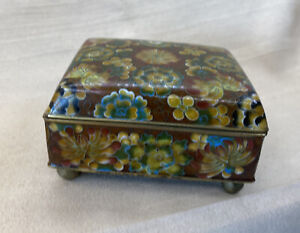 """Beautiful Antique Cloisonné Chinese Lidded, Hinged, and Footed """"Casket"""" Box Red"""