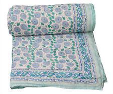 Indian Cotton Hand Block Print Winter Quilt Coverlet Ethnic Reversible Blanket