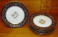 7 Antique Abram French & Co Boston Mass Cobalt Blue & Gold Porcelain Plates 4452