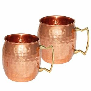 New 100% CopperTumbler Glass Moscow Mule Vodka Drink ware Set of-2 Mugs 400 ml