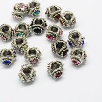 50 Pcs Large Hole  Antique Silver Alloy Rhinestone European Beads 12x13x8~9mm