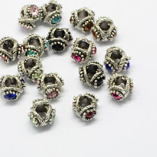 50 Pcs Large Hole  Antique Silver Alloy Rhinestone European Beads 12x13x8~9mm