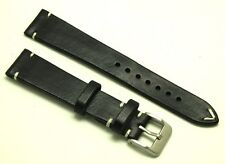 19mm Vintage Black/White HQ Genuine Leather Watch Strap Handmade Silver Buckle
