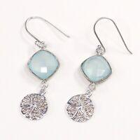 Vtg STERLING SILVER earrings, 925 Silver W/ chrysoprase N Starfish Dangles