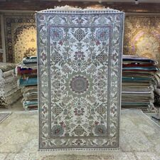 Yilong 3'x5' Flowers Handcraft Carpet Antistatic Home Hand Knotted Silk Rug 264B