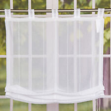 Raffrollo Rollo Schlaufen weiß transparent mit Streifen 100x140cm