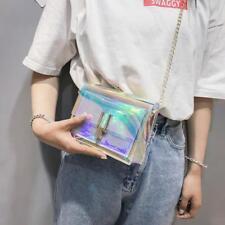 Women PVC Transparent Chain Cross Body Shoulder Bag Tote Jelly Summer Handbag