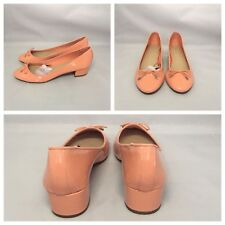 ZARA SALMON PEACH BLOCK HEEL BALLERINAS PUMPS SHOES SIZE UK 7