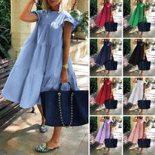 Mulheres de manga curta, casual para festa vestidos Solto Vestido De Verão senhoras vestido camisa de algodão