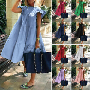 Women Short Sleeve Casual Party Dresses Loose Sundress Ladies Cotton Shirt Dress