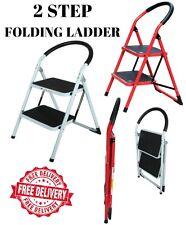 New Mult Purpose Folding Foldable 2 Step Ladder Steel Frame Domestic Household