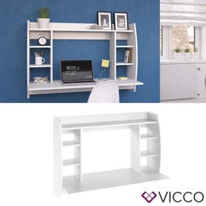 Vicco Bureau mural Max avec étagères et plateau table de bureau table PC Blanc